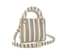 BOLSA KELLY MINI PYTHON CINZA & OFF WHITE