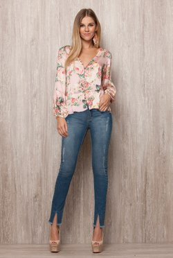 Blusa Floral Botoes Frontal