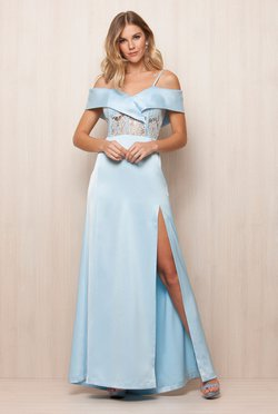 Vestido Blue Sky Fenda Lateral