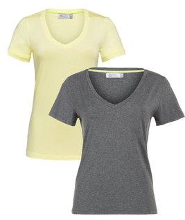 (NEW) KIT 2 T-SHIRT´S GOLA V MODAL E VISCOSE - LEMONADE E CINZA MESCLA ESCURA