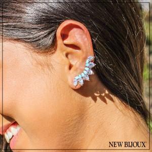 ... Imagem do produto Brinco Ear Cuff com Cristais Gota e Nano Turquesas  Folheado a Ródio 958e105fa2