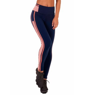 Legging Navy Pink Stripes Supplex