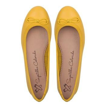 8aaa9a3545 Sapatilha Bailarina Francesa Couro Amarelo Canário