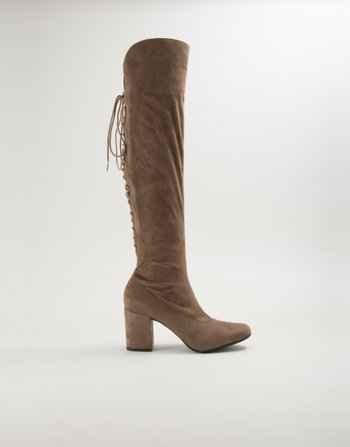BOTA OVER THE KNEE SUEDE MARROM