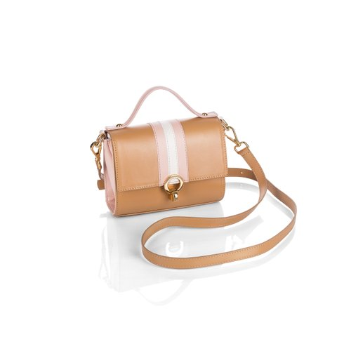 Mini Bag - Couro Camel/Rosa/OFF White
