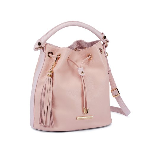 Bucket Bag - Couro Rosa Candy