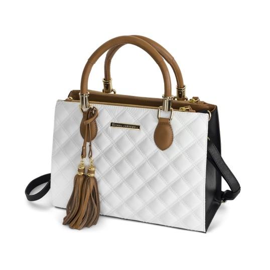 b25016914 Handbag em Couro Branco/Preto/Caramelo c/ Matelassê