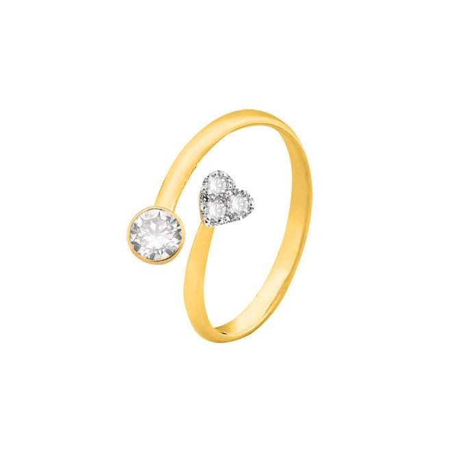 Anel de Falange Ponto de Luz e Coração Folheado a Ouro 18k - New Bijoux 2af5e55d37