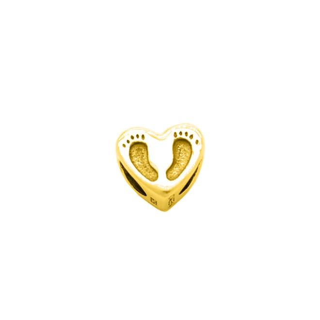 542b664c639fe Berloque Coração com Pezinhos Folheado a Ouro 18k Realizações - New ...
