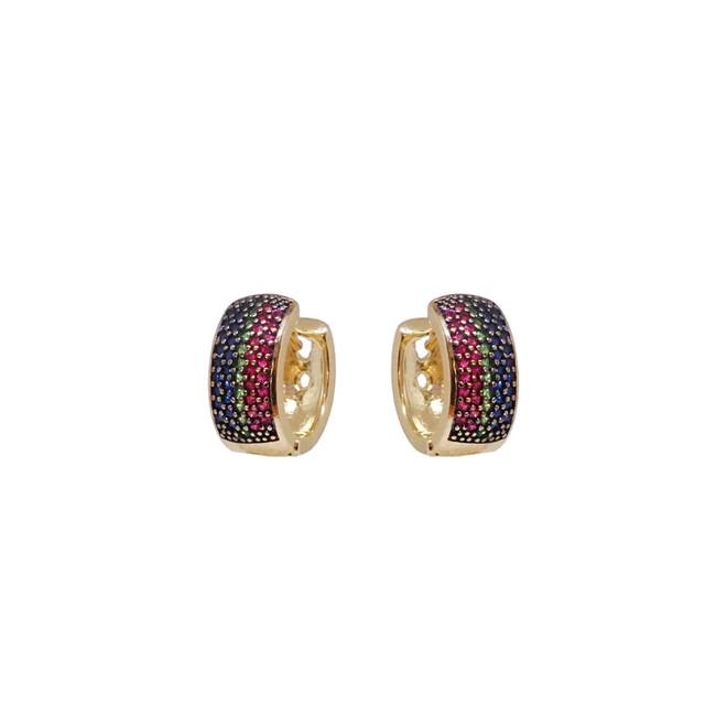 Brinco Argola Cravejado Mandala Nouveau Folheado a Ouro 18K - New Bijoux 58e4dd98bf