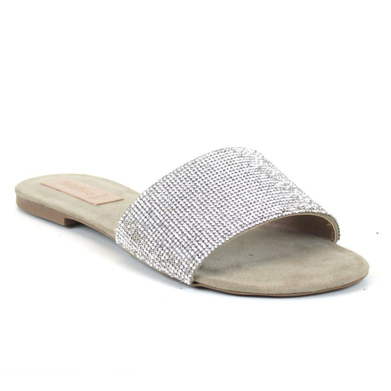 Rasteira Flats&Co Suede Strass Bege