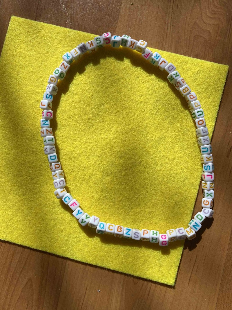 Choker Beads White Letters