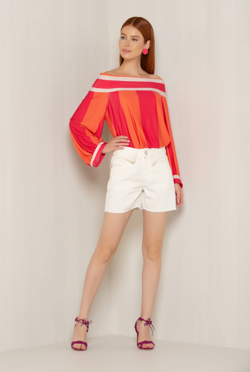 Blusa Ombro a Ombro Duo Color Stripes