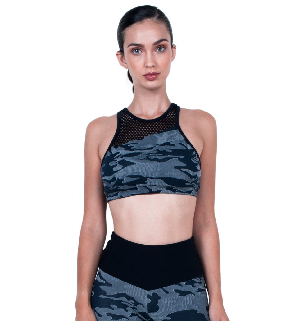 Top Military Blue Jacquard