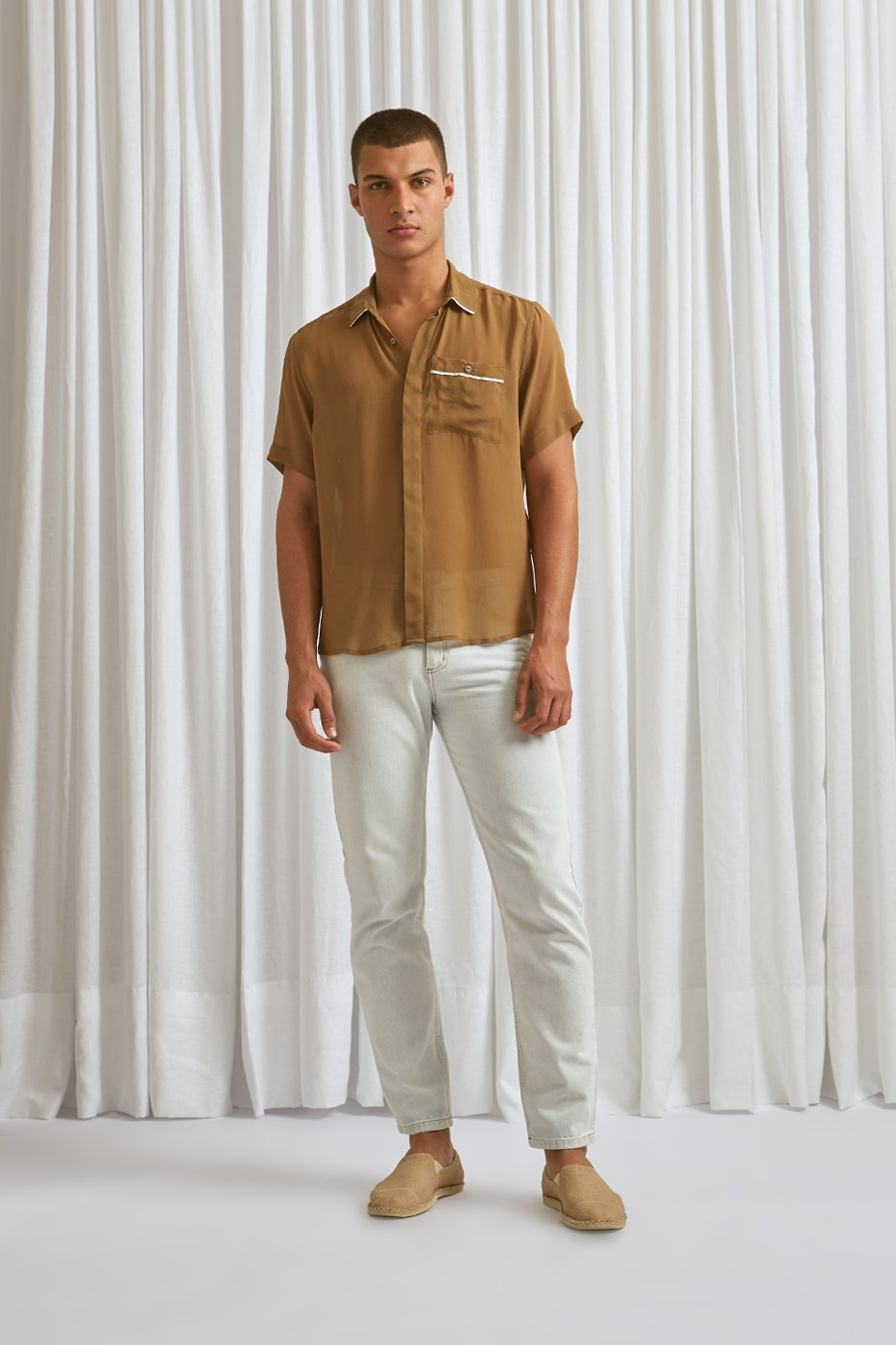 Camisa MC Seda Oliva Vivo Off-White