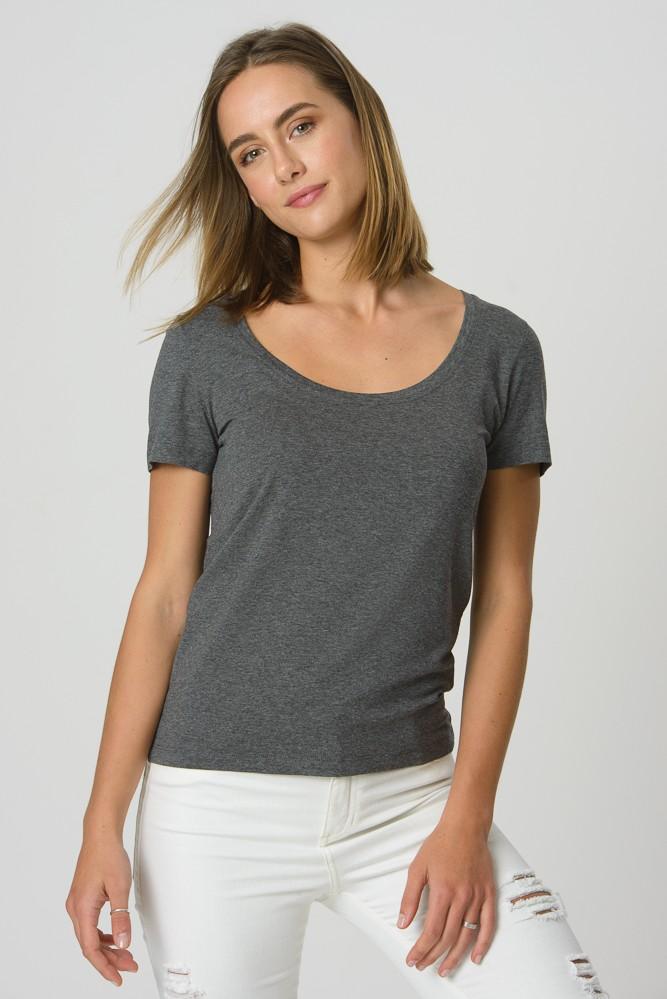 T-Shirt Gola U Cinza Mescla Escuro