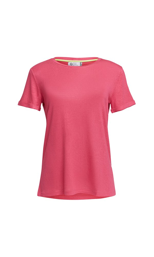 T-Shirt Gola Careca Linho - Pink Lemon