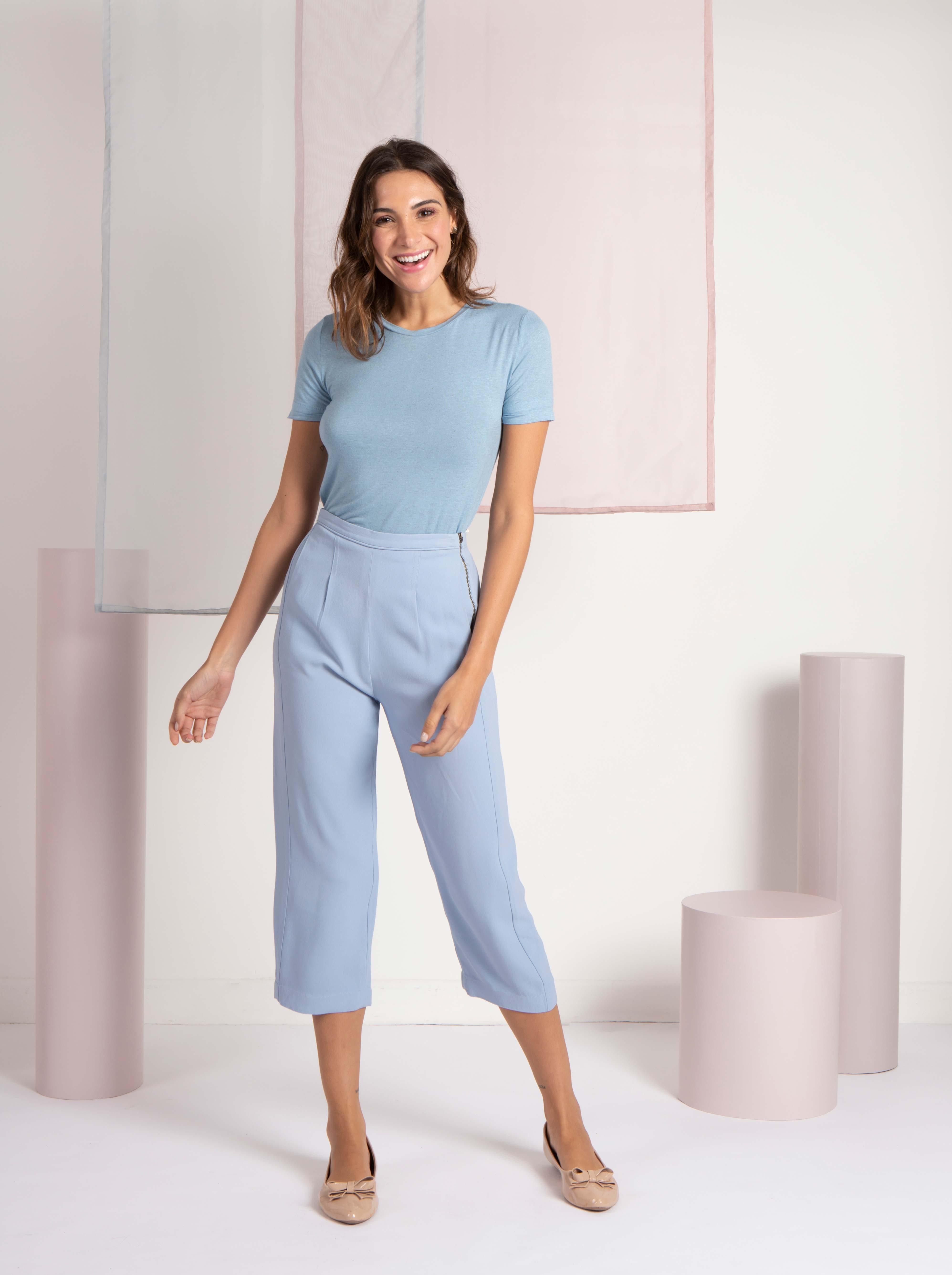 T-Shirt Gola Careca Linho - Light Blue